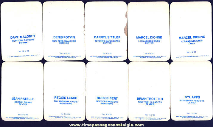 (10) ©1976 Topps Chewing Gum Hockey Player Sports Cards