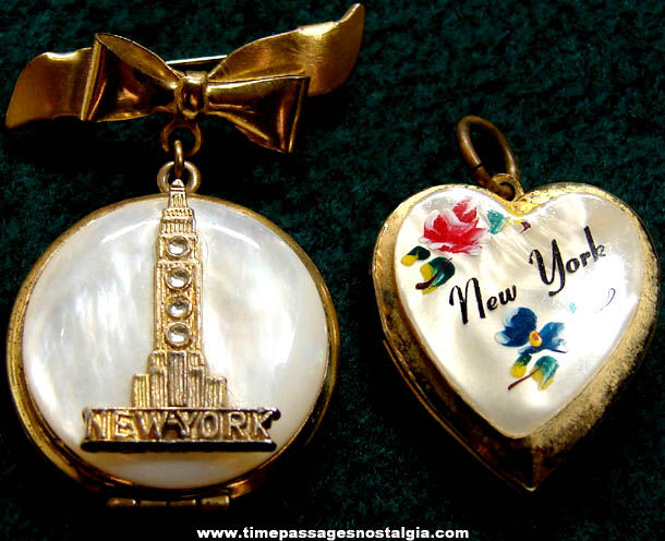 (2) Different Old New York City Advertising Souvenir Lockets With Photos