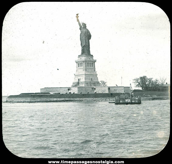 Old Statue of Liberty New York City Magic Lantern Glass Slide
