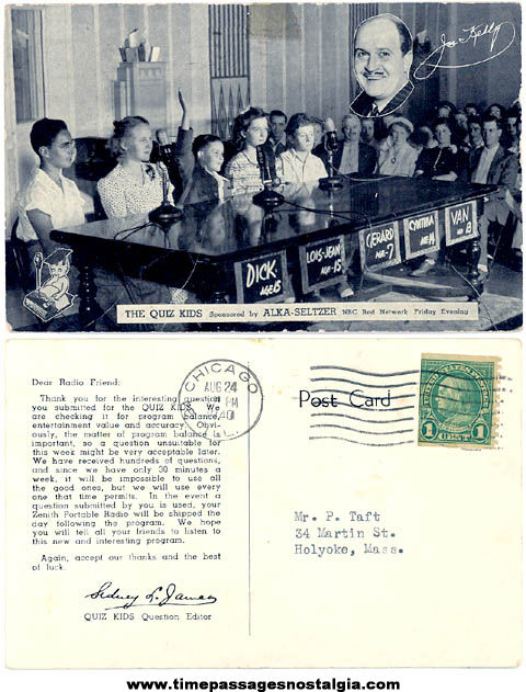 1940 The Quiz Kids NBC Radio & Television Show Advertising Post Card
