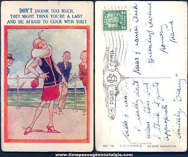 1930 Risque Lady on Boardwalk Comic or Cartoon Post Card