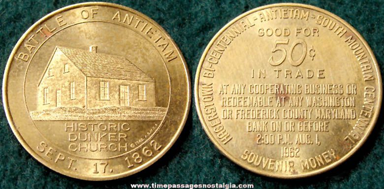 1962 Civil War Battle of Antietam Centennial Advertising Souvenir Token Coin