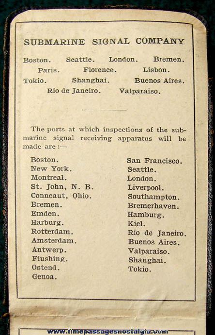 1917 Submarine Signal Company Advertising Premium Calendar and Diary Booklet