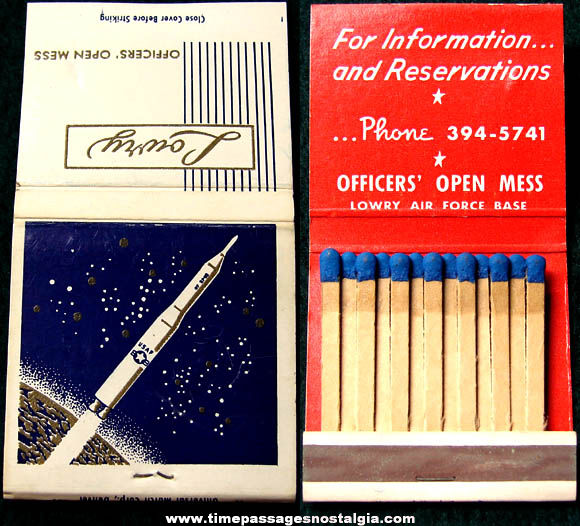 Old Lowry Air Force Base Officers' Open Mess Advertising Match Book