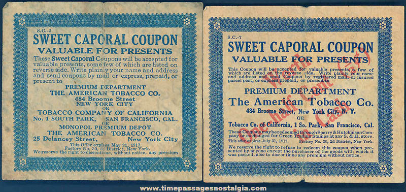 (2) Different 1917 Sweet Caporal Cigarettes Advertising Premium Coupons