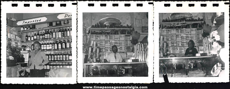 (3) Old Store Interior Black & White Snapshot Photographs