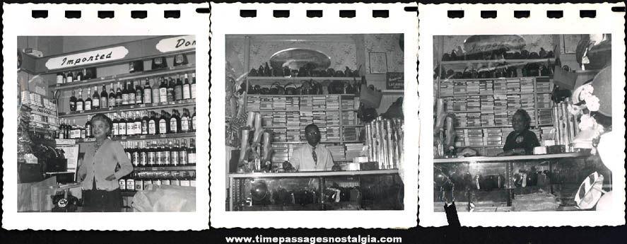 (3) Old Store Interior Black & White Snapshot Photographs