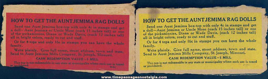 2 Old Aunt Jemima Pancakes Advertising Premium Rag Doll Family