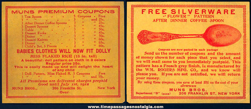 1912 Flaked Rice Cereal Advertising Premium Doll or Silverware Coupon