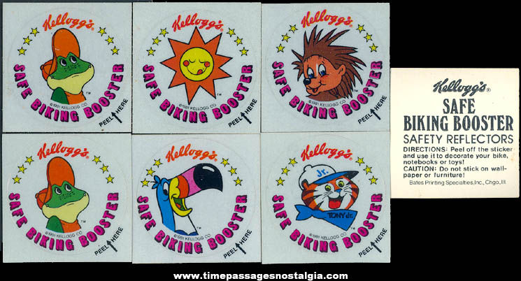 (7) Unused ©1981 Kellogg's Advertising Character Cereal Prize Safe Biking Booster Safety Reflector Stickers