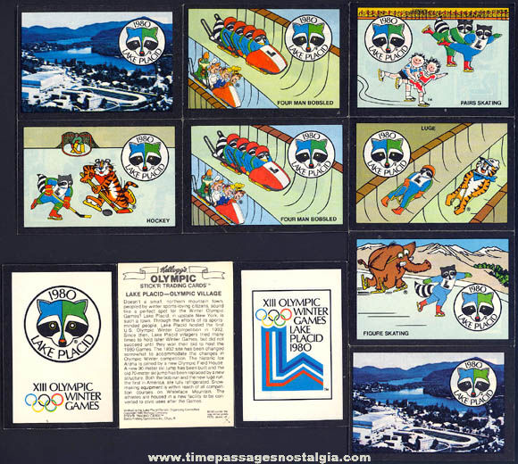 (11) Kellogg's �1980 Lake Placid Winter Olympics Cereal Prize Trading Card Stickers