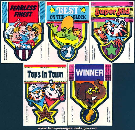 (5) Unused �1977 Kellogg's Cereal Advertising Character Badge & Iron On Transfer Prizes
