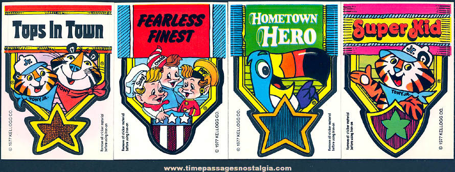 (4) Unused ©1977 Kellogg's Cereal Advertising Character Badge & Iron On Transfer Prizes
