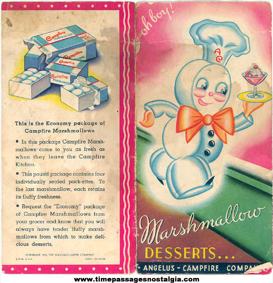 (2) Different ©1936 Angelus & Campfire Marhmallows Advertising Premium Recipe Booklets