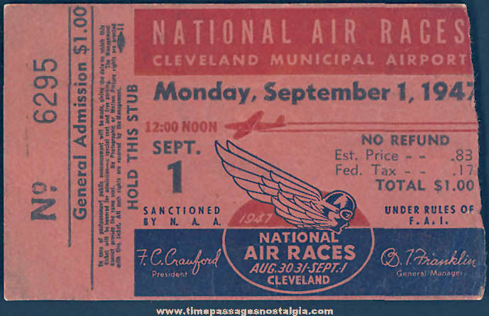 1947 National Air Races Cleveland Municipal Airport Advertising Ticket Stub