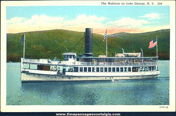 Old Unused Mohican Steamboat on Lake George New York Linen Post Card