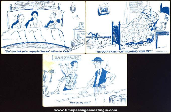 (6) 1940s Mutoscope & Exhibit Supply Risque & Comic Arcade Cards