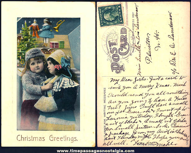 Colorful 1913 Christmas Greetings Real Photo Post Card