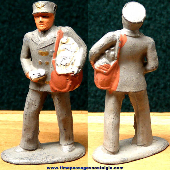 Old Manoil or Barclay Painted Metal Toy Mailman Play Set Figure