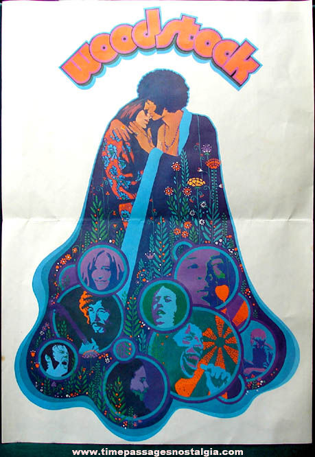 1969 Warner Brothers Woodstock Music Concert Publication with Poster