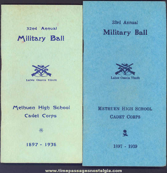 (2) 1930s Methuen High School Cadet Corps Military Ball Advertising Souvenir Booklets