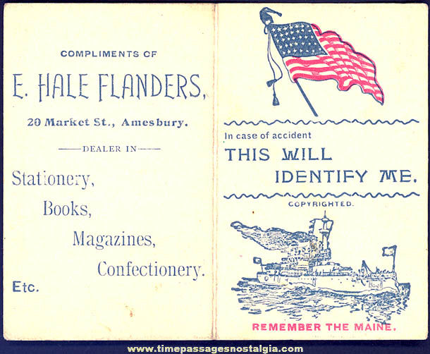 Early Remember The Maine Advertising Premium Identification Card