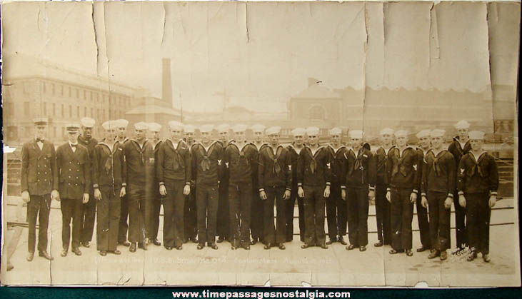 Large August 1922 U.S. Submarine O#4 Officers & Crew Photograph