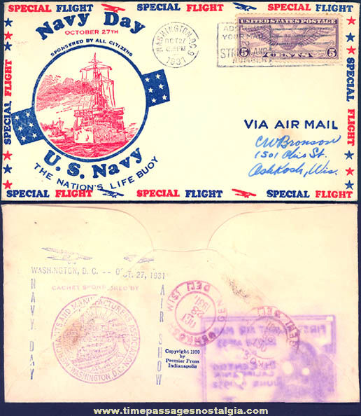 1931 United States Navy Day Special Flight Cover Envelope