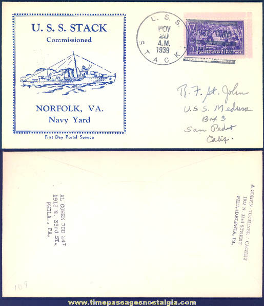 1939 United States Navy U.S.S. Stack Baseball Centennial First Day Cover Envelope