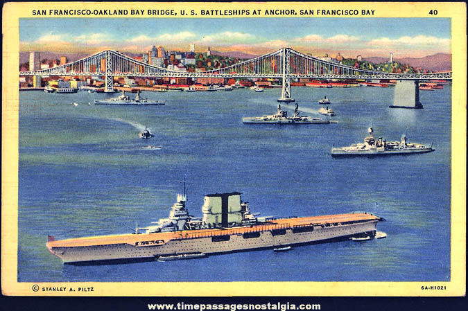 Unused 1940s San Francisco Bay With U.S. Navy Ships Linen Post Card