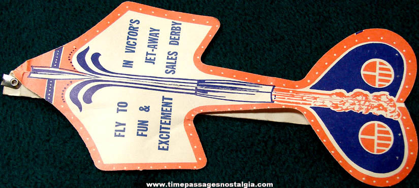 Old Victor's Jet Away Sales Derby Advertising Premium Toy Paper Airplane