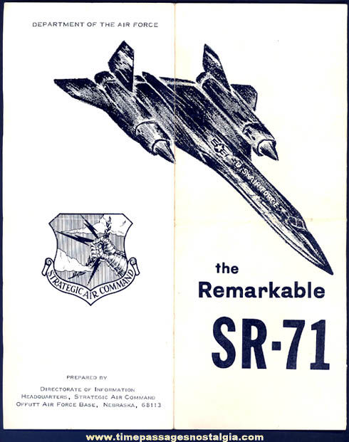 Old United States Air Force SR-71 Blackbird Aircraft Advertising Brochure