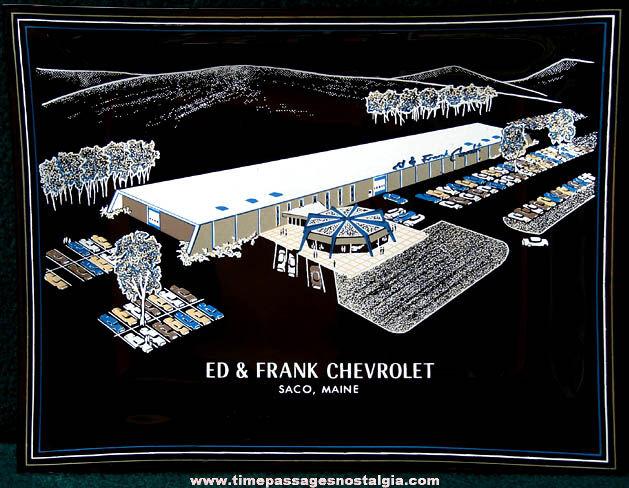 Old Saco Maine Chevrolet Dealership Advertising Premium Black Glass Tray