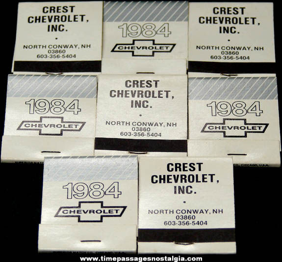 (8) Unused 1984 North Conway New Hampshire Chevrolet Dealership Advertising Match Books