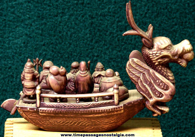 Old Painted Celluloid Japanese Toy Ship Figurine