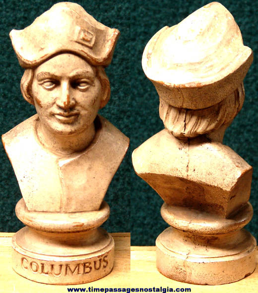 Small Old Christopher Columbus Bust Statue Figurine