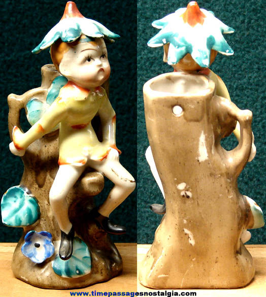 Old Porcelain Fairy Pixie or Elf Wall Hanging Vase or Figurine