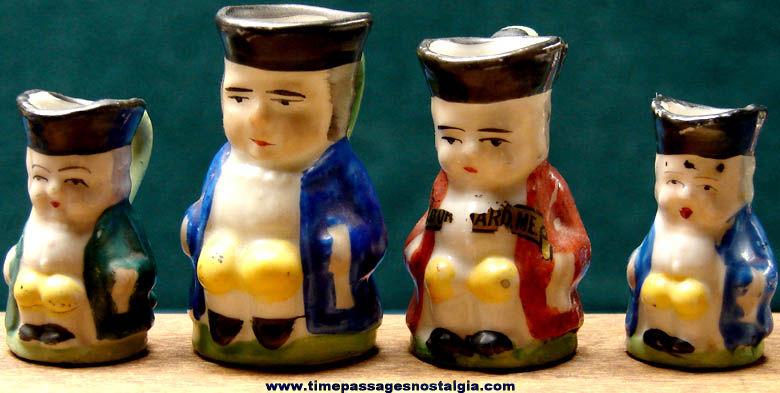 (4) Old Miniature Porcelain Toby Pitchers