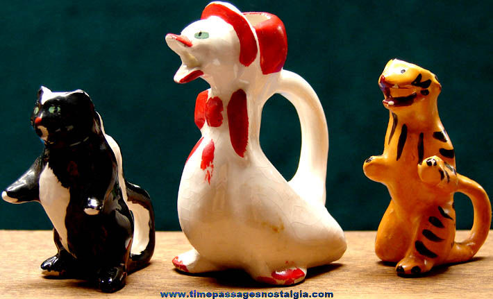 (3) Different Old Miniature Porcelain or Ceramic Animal Pitchers