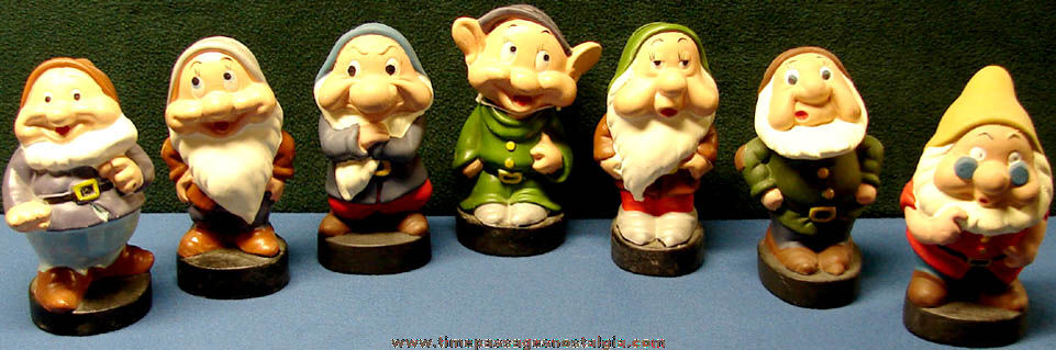 (7) Old Walt Disney Snow White Dwarf Character Ceramic Coin Savings Banks
