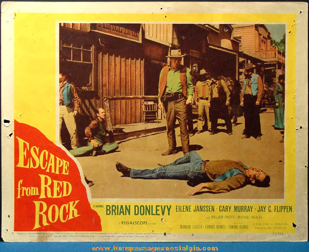 (2) Colorful 1957 Escape From Red Rock Movie Lobby Card Posters