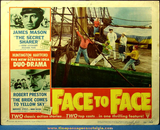 (4) Colorful 1952 Face To Face Movie Lobby Card Posters