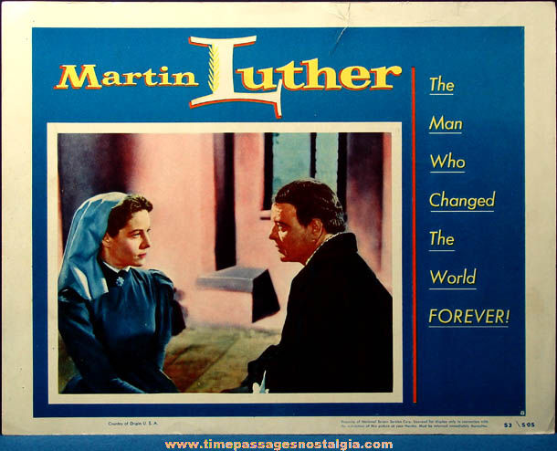 Colorful 1953 Martin Luther Movie Lobby Card Poster