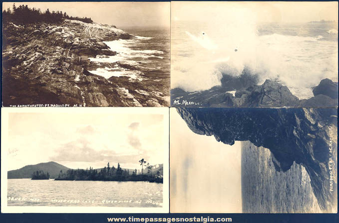 (4) Different Old Scenic Maine Real Photo Post Cards