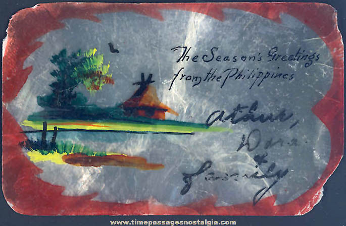 Old Philippine Islands Painted Sea Shell Christmas Card