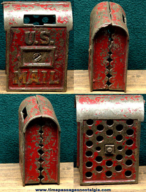 Old Painted Cast Iron United States Mail Box Still Coin Bank