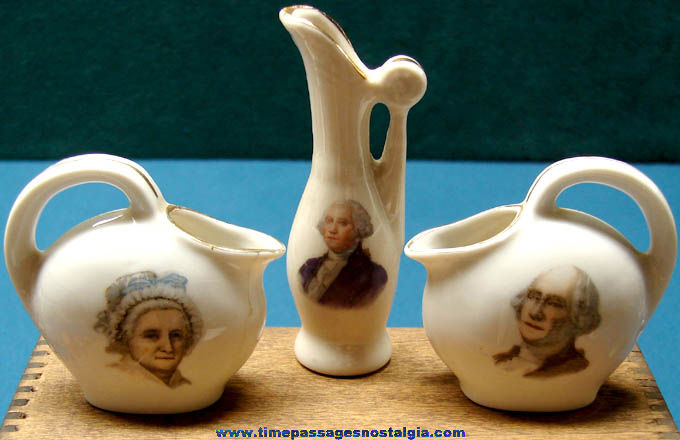 (3) 1940s George & Martha Washington Advertising Souvenir Miniature Pitchers