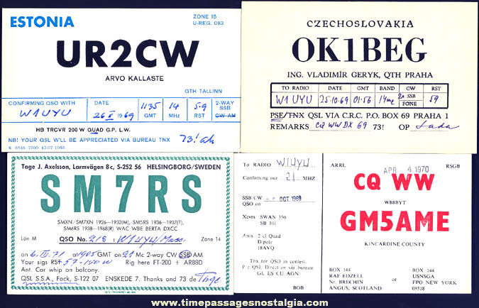 (12) 1953 - 1971 International Ham Radio Operator Advertising Cards