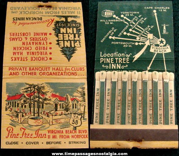 Old Unused Pine Tree Inn Advertising Match Book with Printed Matches