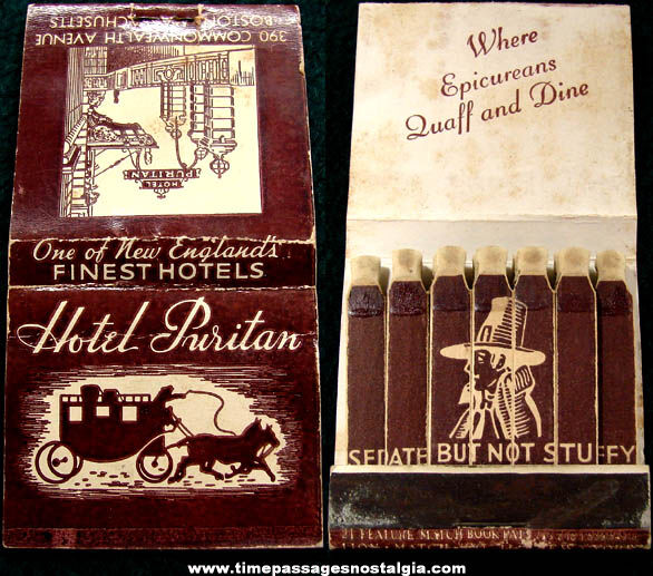 Old Hotel Puritan Advertising Match Book with Printed Matches